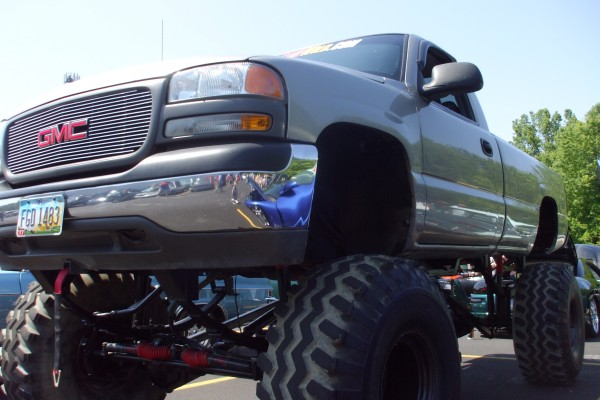 GMC pickup truck with lift kit