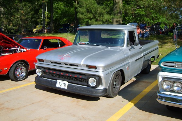 Classic grey Chevy truck with pinstripes