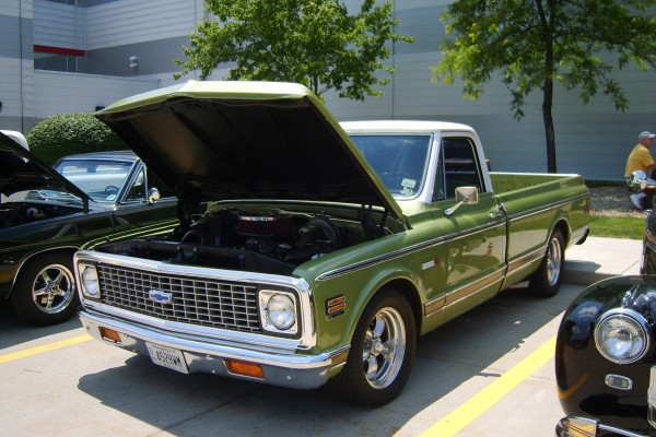 Green Chevy pickup truck
