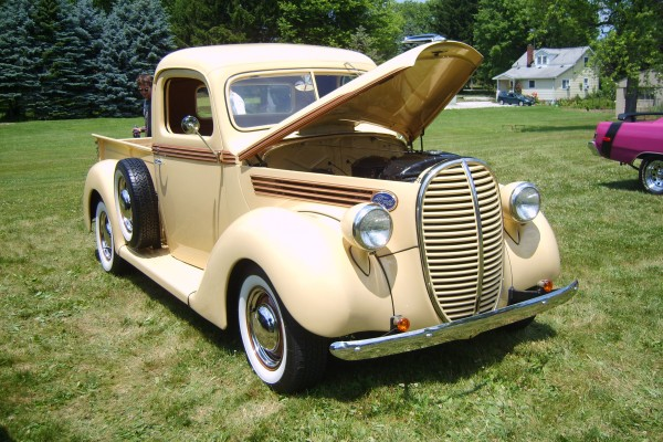 Beige classic Ford pickup truck