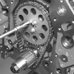 Comp Cams supplied the double roller timing chain set. The LS2-style chain features hardened billet steel gears, a heat-treated chain with large, heavy-duty link pins, and a Torrington thrust bearing for smooth operation. The cam sprocket allows virtually infinite timing adjusts up to 6 degrees advance or retard; the crank sprocket allows additional adjustment up to 4 degrees.