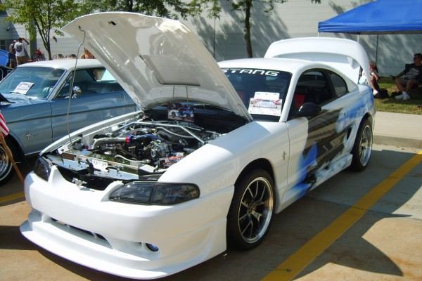 White custom 1995 Ford Mustang