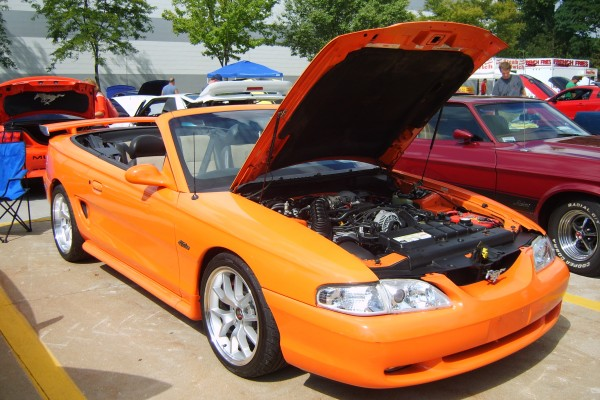 Orange 1996 Ford Mustang GT convertible
