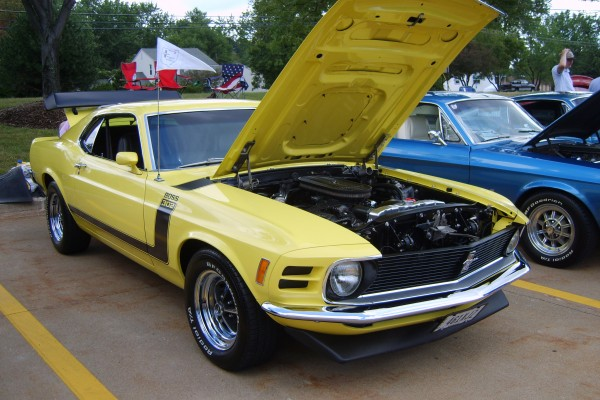 Yellow 1970 Ford Mustang Boss