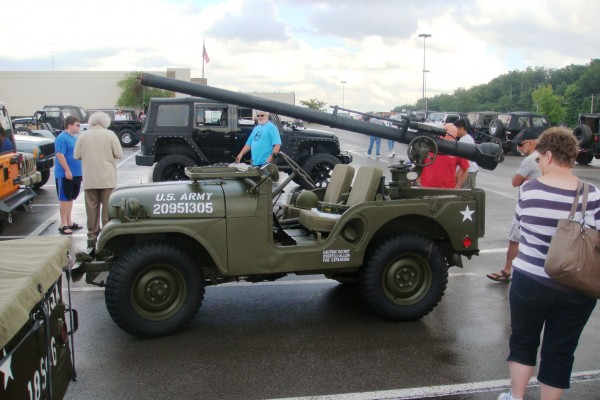 Classic military Jeep with gun