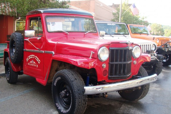 Vintage red Jeep truck