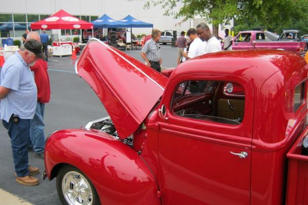 Classic red hot rod pickup truck