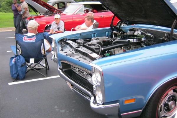 Blue Pontiac GTO front end