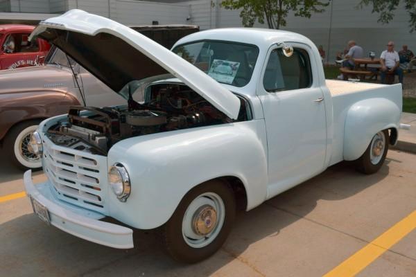 White Studebaker pickup truck