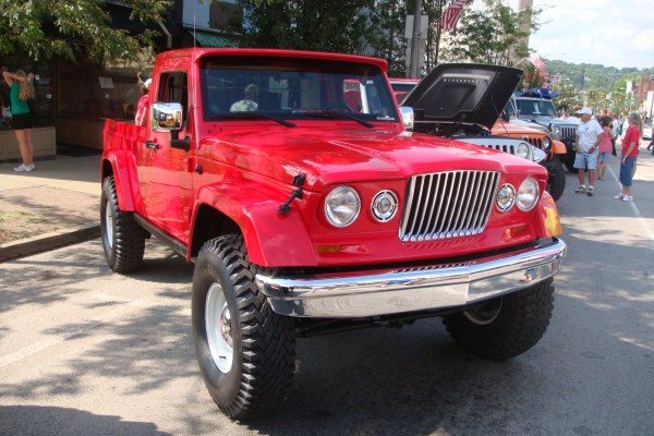 Classic red Jeep truck
