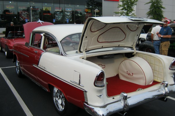 1955 red and white Chevy Bel-Air