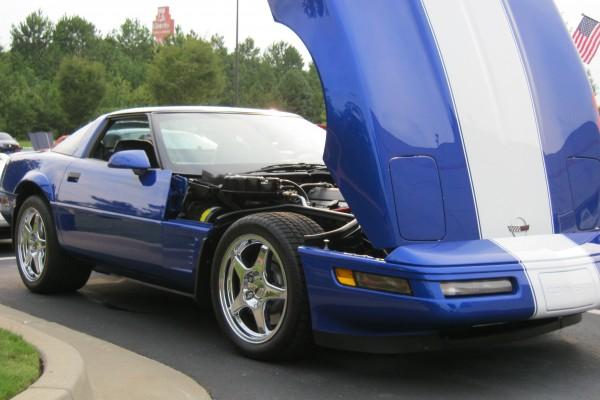 Blue C-4 Corvette with white racing stripe
