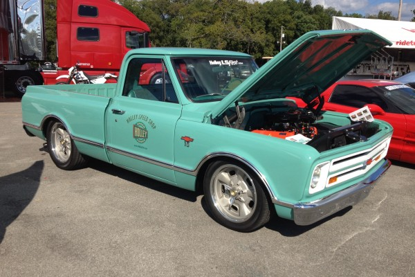 Green Chevy pickup with LS engine