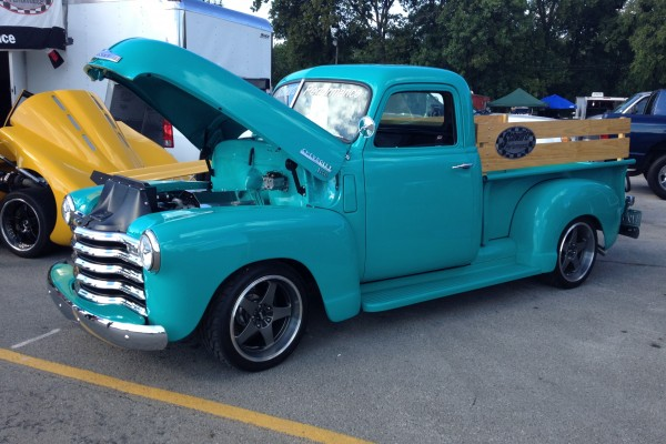 Vintage Chevy pickup with LS engine