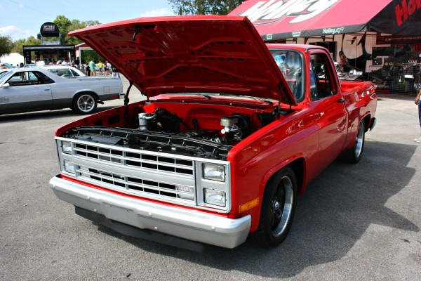Red Chevy pickup with LS engine