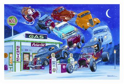 Hot rod car christmas cards