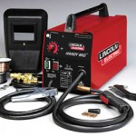 This Lincoln Electric Handy MIG welder kit is ideal for the beginning fabricator. The welder is compact, portable and lightweight, uses standard household current, and can handle 24-gauge to 1/8-inch thick mild steel. The kit includes the gun and cable assembly, work cable and clamp, gas nozzle, gas regulator and hose, a two-pound spool of .025-inch solid wire, .025 and .035 inch contact tips, and hand shield with filter plate and lens. You also get a one-pound spool of self-shielded, flux-cored .035-inch wire, and chipping hammer/brush so you can use your Handy MIG to weld with gasless, flux-cored wire.