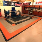 The final product. The Genuine Hotrod Hardware Harley Davidson Interlocking Tile Floor System looks great and will last for years, even under rolling cars and shop equipment.