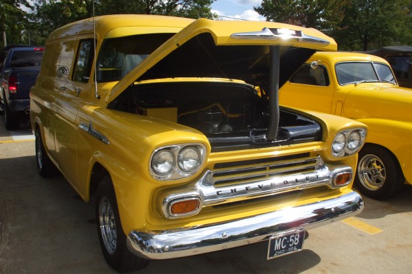1958 Yellow Chevy panel van