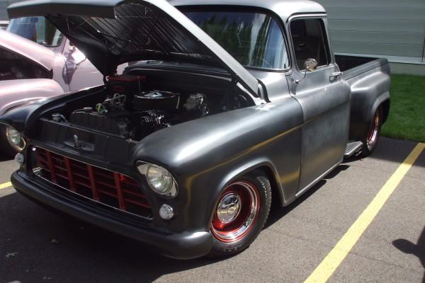Classic black Chevy pickup truck