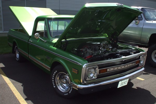 Classic green Chevy pickup truck