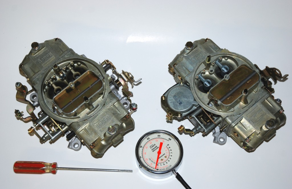 Holley double pumper carburetors and idle tuning tools