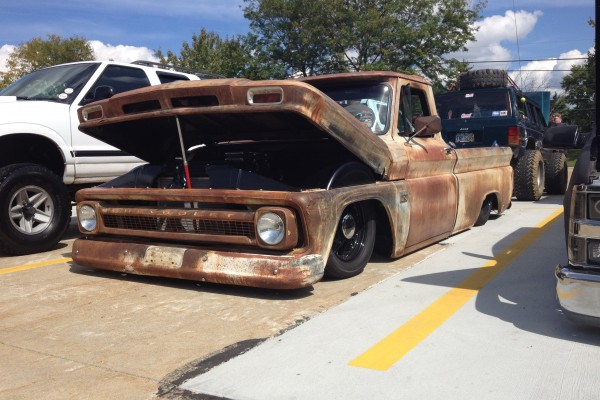Lowered Chevy pickup rat rod