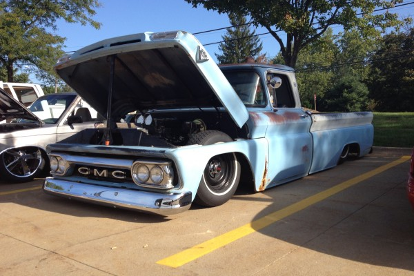 Lowered classic GMC pickup truck