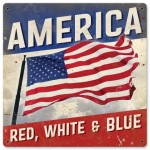 America Red White and Blue sign