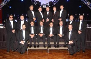 Mark Thomas poses with all the IHRA champions in 2006.
