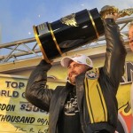 Shawn Langdon celebrates his first career Top Fuel championship and seventh win of the racing season. Photo courtesy of dragillustrated.com.