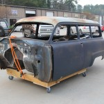 One 1953 Plymouth Suburban body, ready for a trip to the sandblaster. All of the front end sheetmetal is sitting inside the car—another reason station wagons are so darn useful.