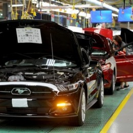 The first of the sixth-generation Ford Mustang rolled off the assembly line today at Ford plant in Flat Rock, MI. Image courtesy of Ford Motor Co.