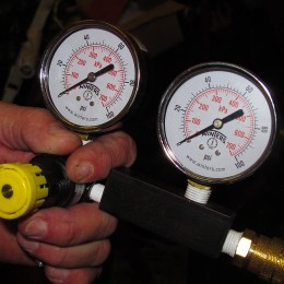 The gauge on the left reads the pressure of the constant air supply. The gauge on the right reads the leakdown of pressure in the cylinder. Before hooking up the air supply, both gauges should read zero. If they don't, you won't get an accurate reading.