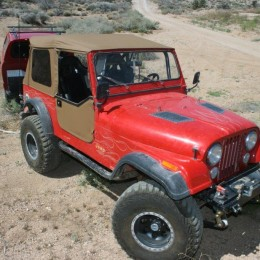 With the spice-colored Supertop in place; the doors and windows are adjusted; and the Jeep is ready for the trail.