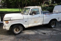 Here is dad's new-to-him truck, a 1974 Ford F100 we scored at the Charlotte Auto Fair this past spring. It's not pretty, but it is solid and rocks a running 360 FE engine and disc brakes. For $800 it was a pretty good deal.