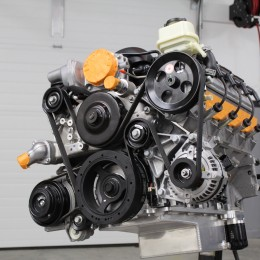 The Chevrolet Performance CTS-V Accessory Drive System provides a compact, OEM-engineered way to install air conditioning, power steering, an alternator, and the water pump on our LS3. From the thorough instructions to the labeled hardware, the Chevy Performance kit was easy to install and the fit was factory perfect.