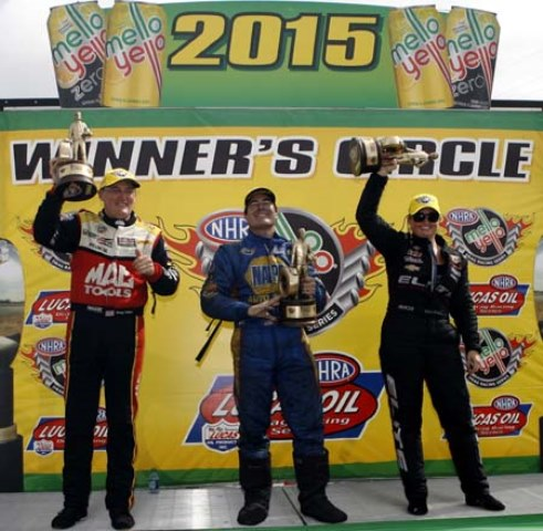 Doug Kalitta, Ron Capps, and Erica Enders-Stevens celebrate in the Winner's Circle after winning the NHRA SpringNationals in Houston Sunday. (Image courtesy of NHRA)