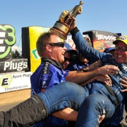 Tommy Johnson Jr. celebrates his win in Seattle to cap off the NHRA's Western Swing. (Image/NHRA)
