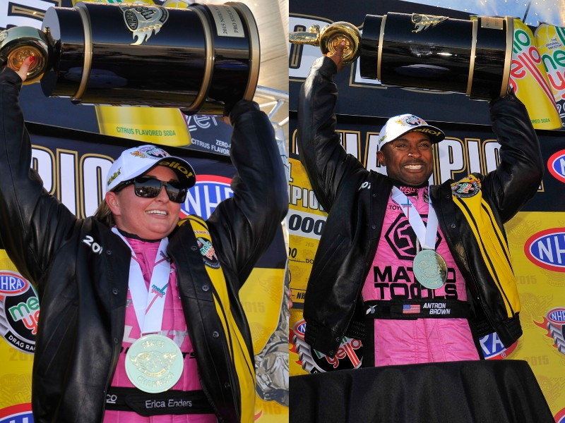 Erica Enders Antron Brown NHRA champions 2015
