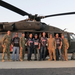 "With a Blackhawk medical team on the flight line after getting the grand tour of their ""office."""