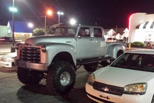 1952 Cummins Chevy parking lot