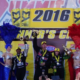Antron Brown, Jason Line, and Alexis DeJoria celebrate wins at the 2016 Las Vegas Nationals. (Image/OnAllCylinders)