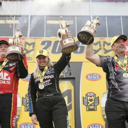 NHRA Top Fueler Doug Kalitta, Funny Car's Courtney Force, and Pro Stock's Greg Anderson celebrate wins at the 2016 NHRA SpringNationals in Baytown, TX. (Image/The Houston Chronicle)