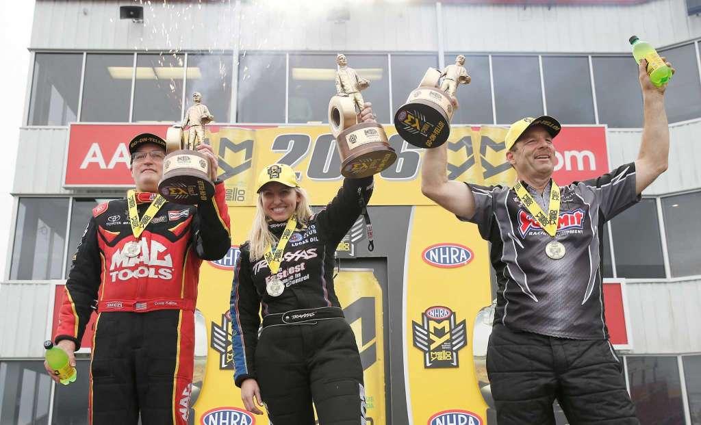 NHRA winners Baytown 2016 Courtney Force, Greg Anderson, Doug Kalitta