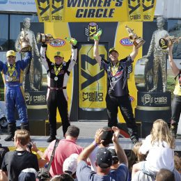 (Ron Capps, Steve Torrence, Greg Anderson, and Angelle Sampey celebrate victory Sunday at the NHRA Summernationals in Englishtown, NJ. (Image/NHRA)