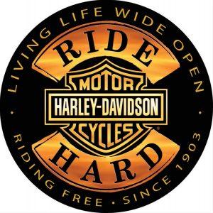 harley davidson ride hard tin sign