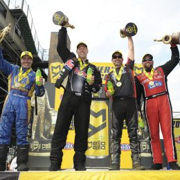 Ron Capps (Funny Car), Jason Line (Pro Stock), Eddie Krawiec (Pro Stock Motorcycle), and Shawn Langdon (Top Fuel) celebrate winning the 2016 Summit Racing Equipment NHRA Nationals on Sunday at Summit Motorsports Park in Norwalk, OH. (Image/Competition Plus)