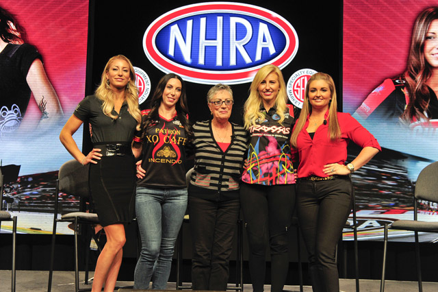From left, Leah Pritchett, Alexis DeJoria, Shirley Muldowney, Courtney Force, and Erica Enders. (Image/NHRA)