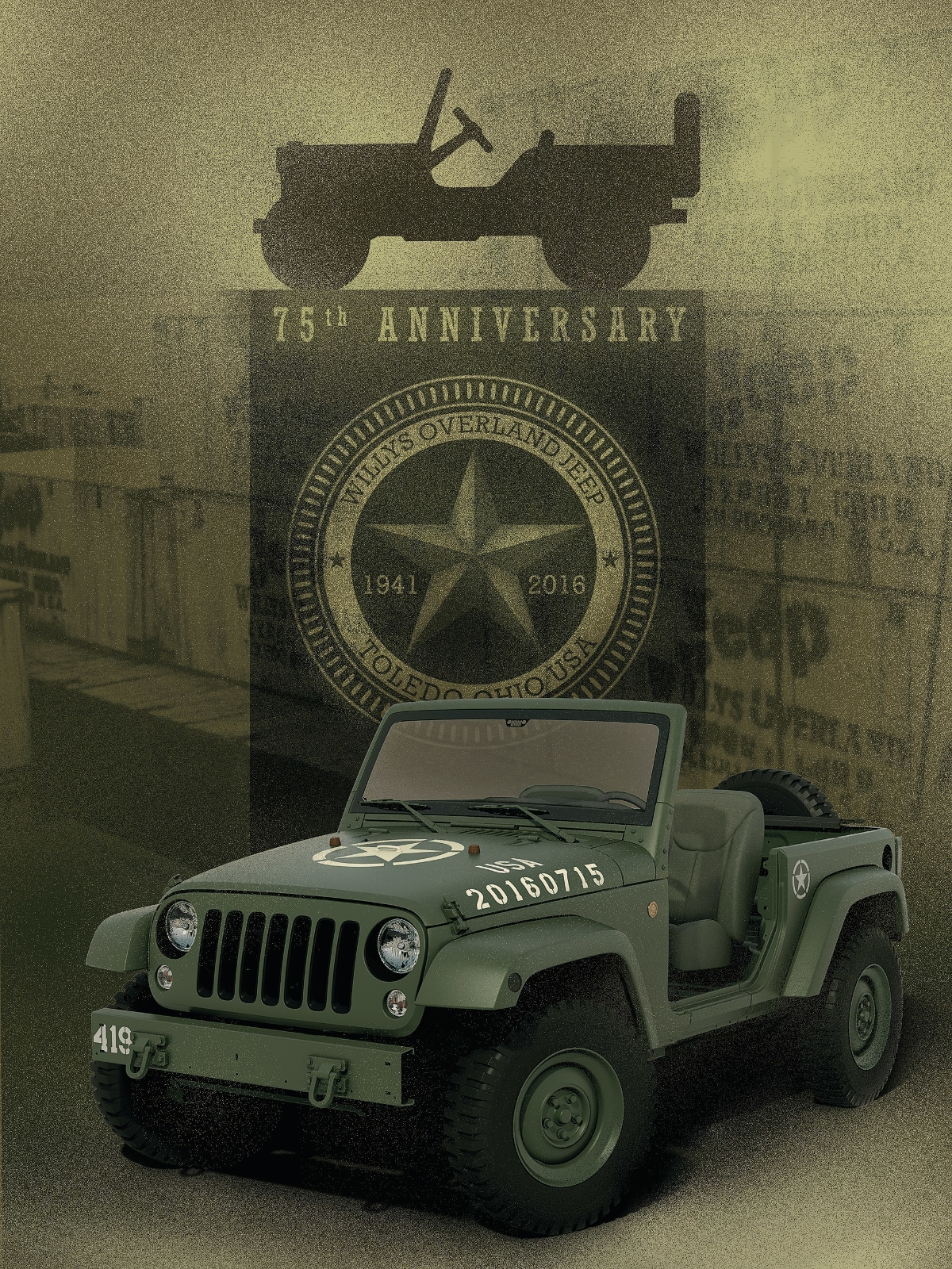 jeep celebrates 75 years with wwii willys overland tribute concept vehicle onallcylinders. Black Bedroom Furniture Sets. Home Design Ideas